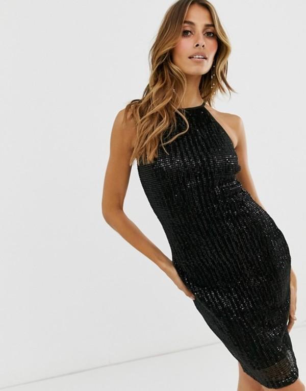 ペーパードールズ レディース ワンピース トップス Paper Dolls pleat sequin halter dress Black