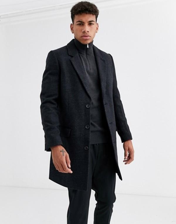 ニュールック メンズ コート アウター New Look checked overcoat in gray Grey