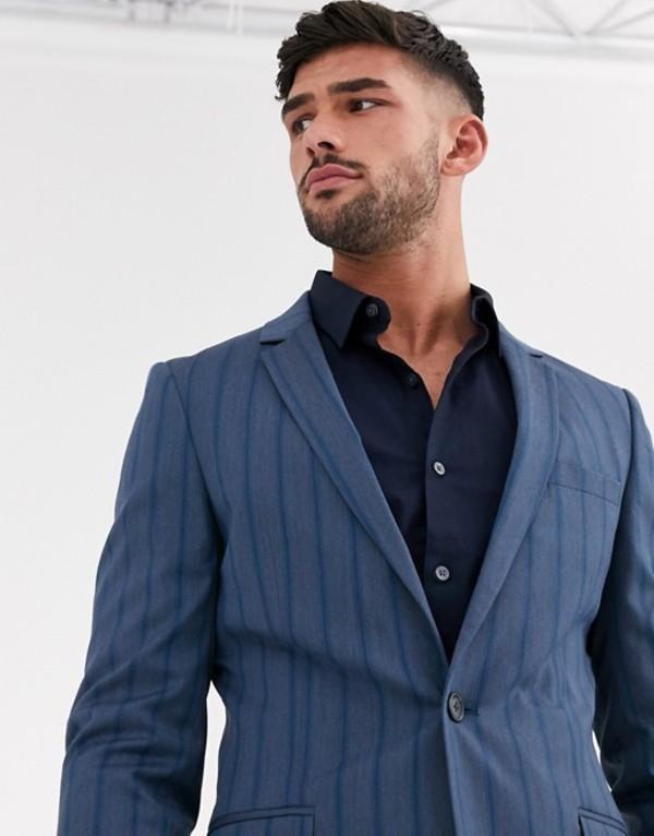 エイソス メンズ ジャケット・ブルゾン アウター ASOS DESIGN super skinny suit jacket in tonal bold stripe in blue Blue