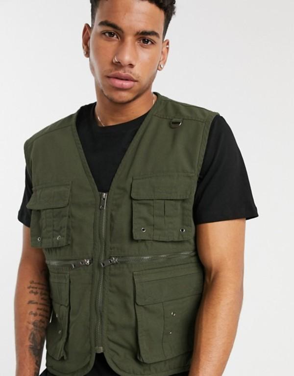 ソウルスター メンズ タンクトップ トップス Soul Star utility vest jacket in green Green