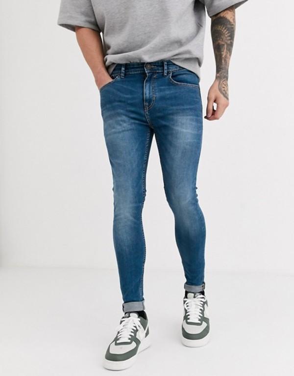 ニュールック メンズ デニムパンツ ボトムス New Look spray on jeans in light blue wash Light blue
