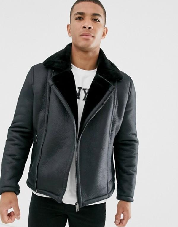 ニュールック メンズ ジャケット・ブルゾン アウター New Look faux shearling aviator in black Black
