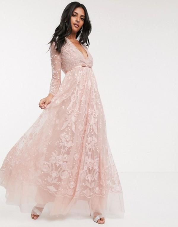 ニードルアンドスレッド レディース ワンピース トップス Needle & Thread embroidered floral lace maxi dress in dusty pink Dusty pink