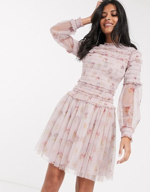 ニードルアンドスレッド レディース ワンピース トップス Needle & Thread sequin mini dress with sheer sleeves in dusty mauve Dusty mauve