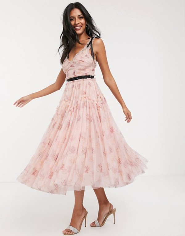 ニードルアンドスレッド レディース ワンピース トップス Needle & Thread bow detail midi dress with contrast waistband in pink floral Powder pink