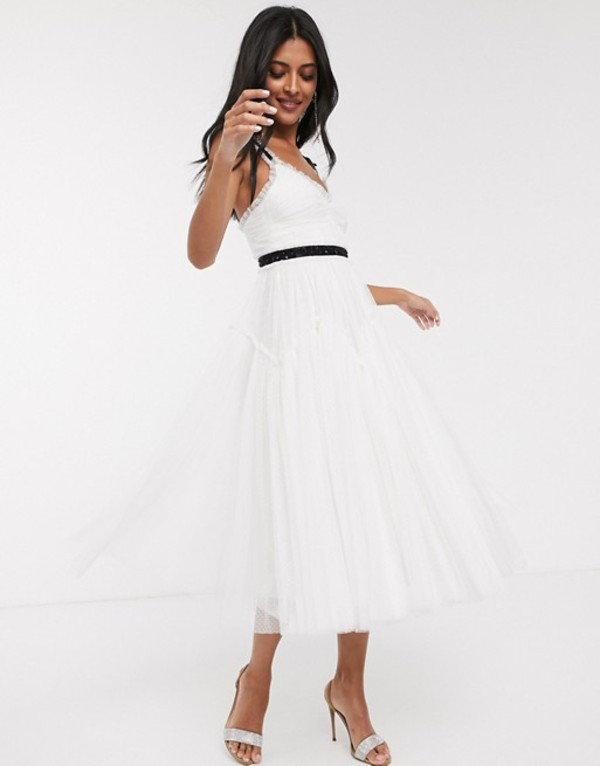 ニードルアンドスレッド レディース ワンピース トップス Needle & Thread Bridal bow detail midi dress with contrast waistband in ivory Ivory