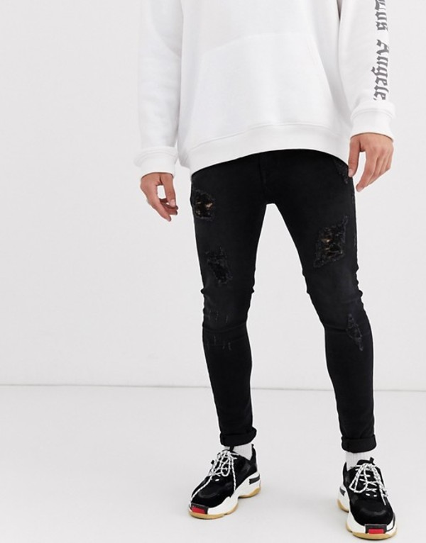 エイソス メンズ デニムパンツ ボトムス ASOS DESIGN spray on jeans in power stretch in washed black with heavy rips Washed black