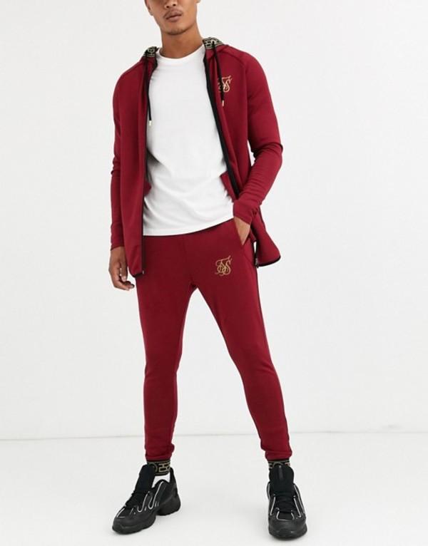 シックシルク メンズ カジュアルパンツ ボトムス SikSilk super skinny sweatpants in burgundy with baroque cuff Red