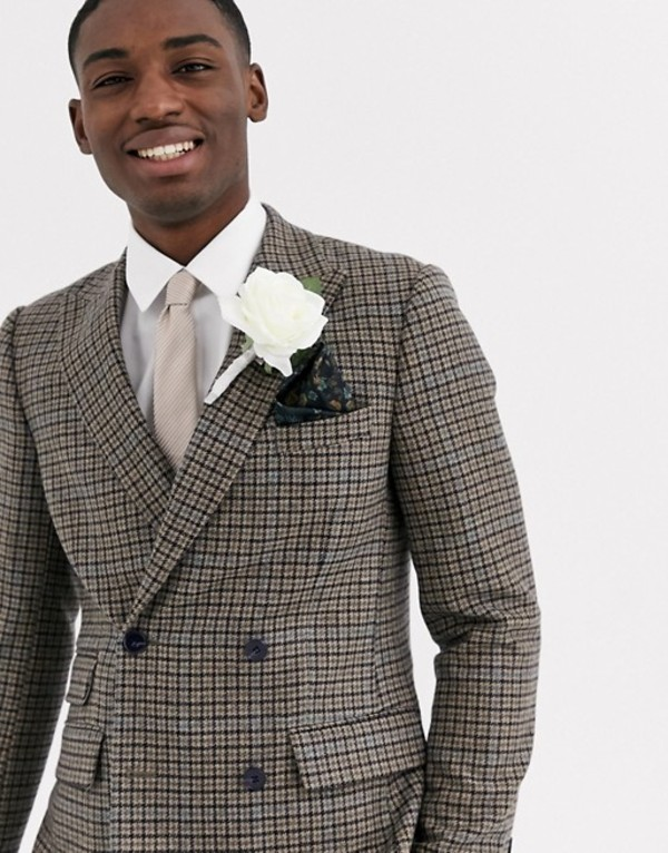 エイソス メンズ ジャケット・ブルゾン アウター ASOS DESIGN wedding slim double breasted blazer in 100% lambs wool tan check Brown