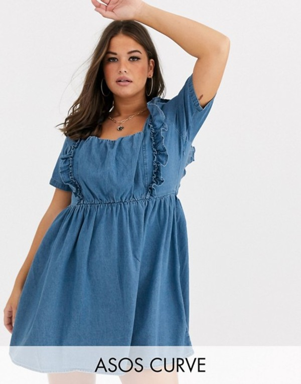 エイソス レディース ワンピース トップス ASOS DESIGN Curve denim square neck frill smock dress in blue Blue