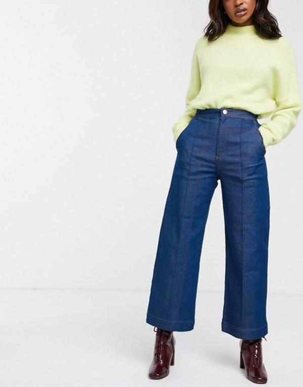 エイソス レディース デニムパンツ ボトムス ASOS WHITE 70s blue contrast stitch crop jean Blue