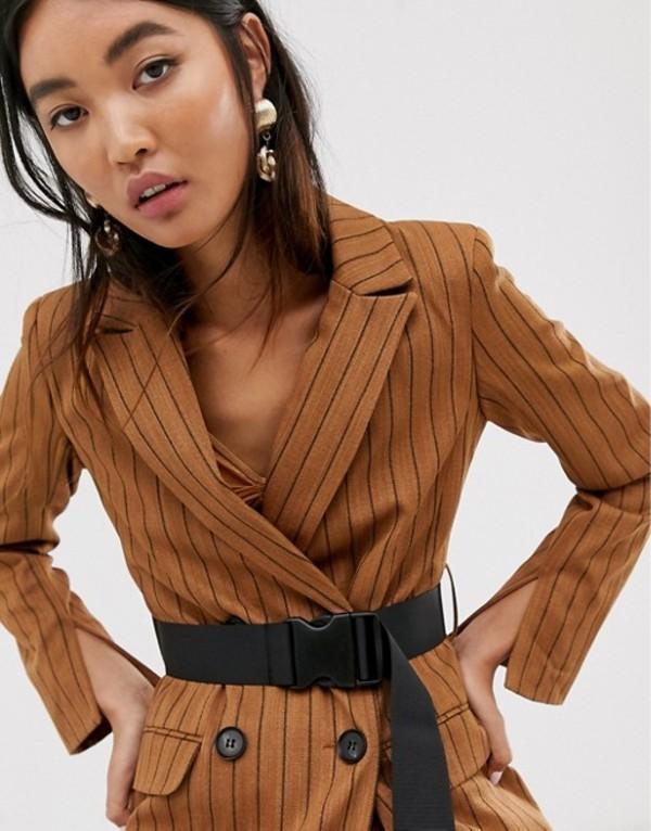 エイソス レディース ジャケット・ブルゾン アウター ASOS DESIGN brown stripe longline seatbelt blazer Stripe