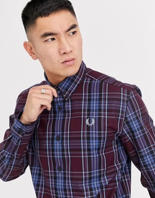フレッドペリー メンズ シャツ トップス Fred Perry button down collar check shirt in burgundy Mahogany