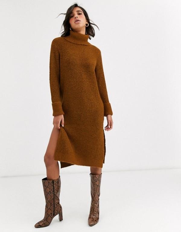 ワイエーエス レディース ワンピース トップス Y.A.S roll neck knitted dress with side splits Brown