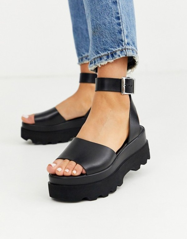 エイソス レディース サンダル シューズ ASOS DESIGN Temple leather flatform sandals in black Black