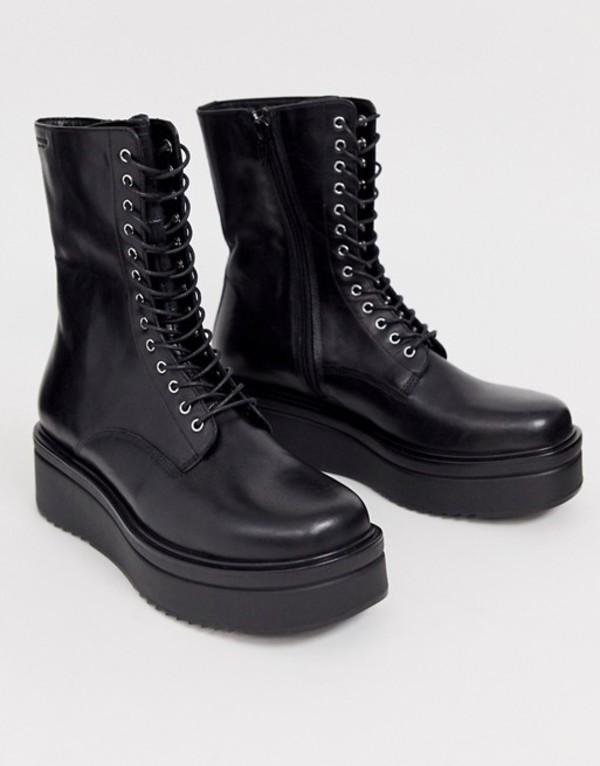 バガボンド レディース ブーツ・レインブーツ シューズ Vagabond Tara black leather flatform chunky lace up boots Black leather