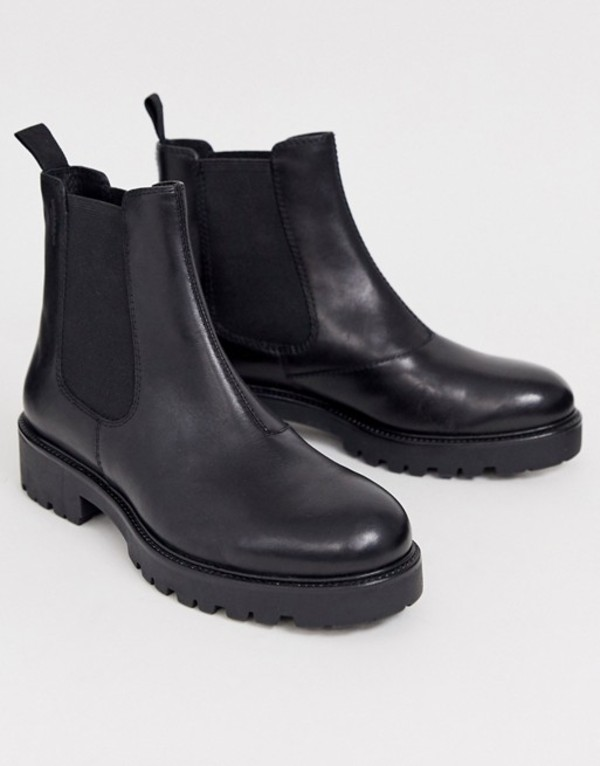 バガボンド レディース ブーツ・レインブーツ シューズ Vagabond Kenova black leather chunky flat ankle boots Black nubuck