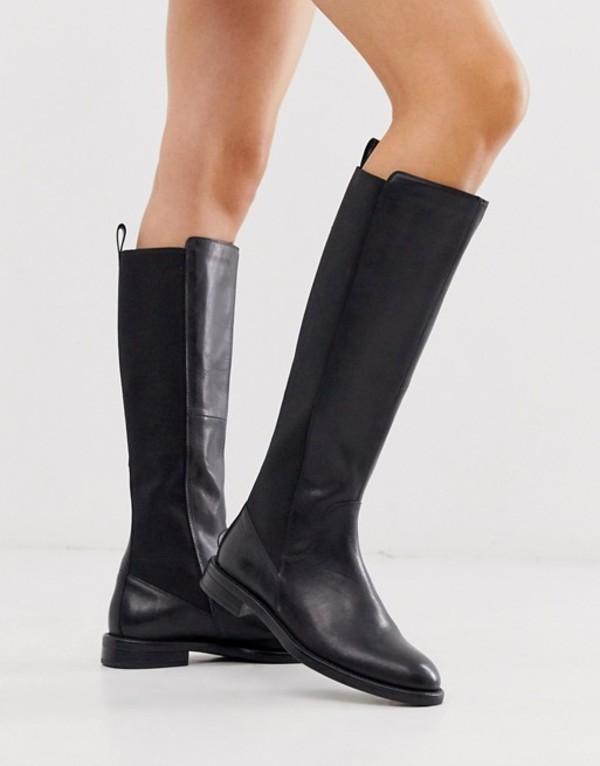 バガボンド レディース ブーツ・レインブーツ シューズ Vagabond Amina knee high flat boots in black leather Black leather