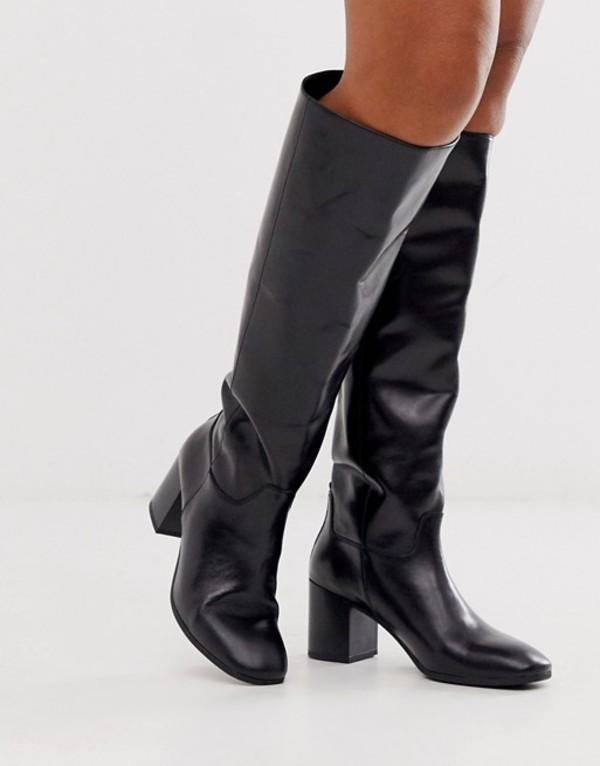 バガボンド レディース ブーツ・レインブーツ シューズ Vagabond Nicole black leather kitten heel knee high boots Black leather
