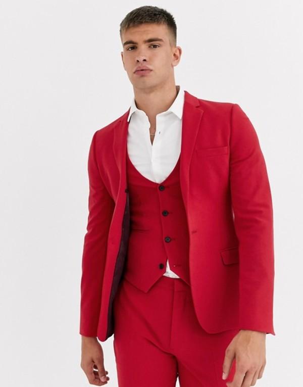 エイソス メンズ ジャケット・ブルゾン アウター ASOS DESIGN super skinny suit jacket in bright red Red