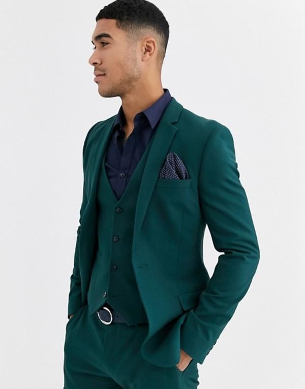 エイソス メンズ ジャケット・ブルゾン アウター ASOS DESIGN super skinny suit jacket in forest green Green