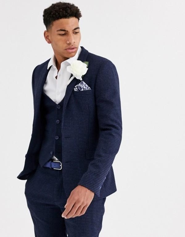 エイソス メンズ ジャケット・ブルゾン アウター ASOS DESIGN wedding super skinny suit jacket in blue wool blend mini check Blue