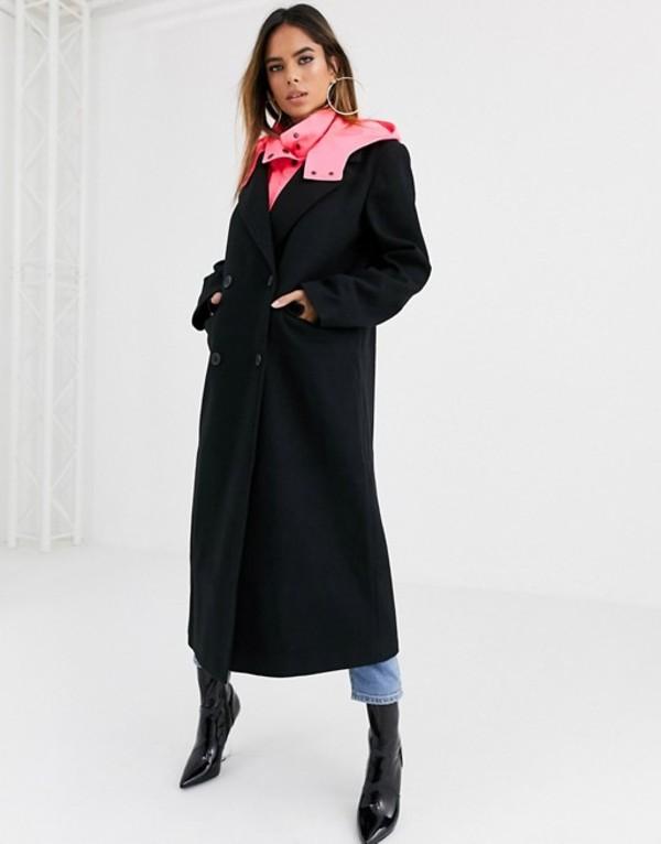 エイソス レディース コート アウター ASOS DESIGN hybrid coat with padded underlayer in black Black