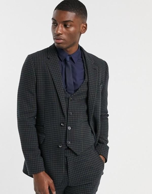 エイソス メンズ ジャケット・ブルゾン アウター ASOS DESIGN skinny suit jacket in wool mix houndstooth in khaki Khaki