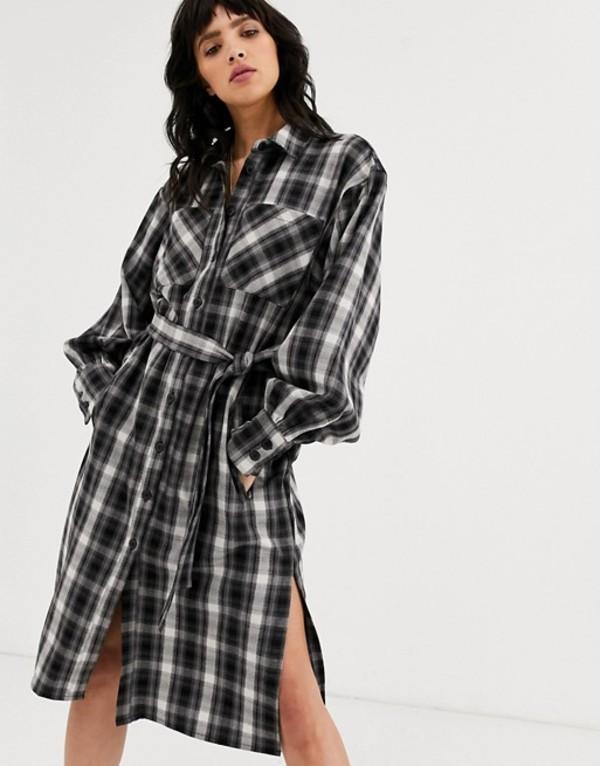 オブジェクト レディース ワンピース トップス Object check shirt midi dress with volume sleeve Multi