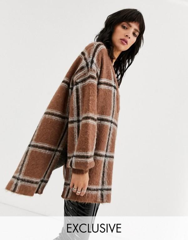 オブジェクト レディース ニット・セーター アウター Object oversized v neck sweater in check Multi