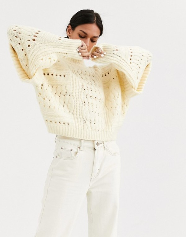 エイソス レディース ニット・セーター アウター ASOS DESIGN sweater with shoulder trim detail Buttermilk