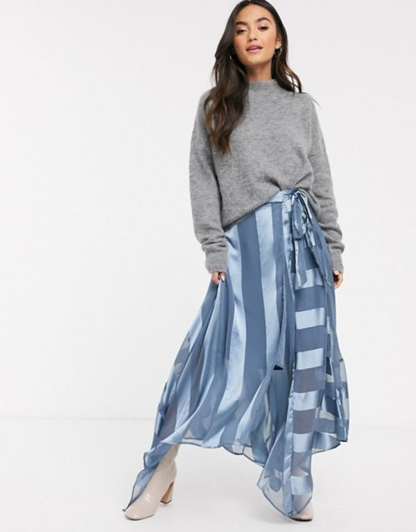 エイソス レディース スカート ボトムス ASOS DESIGN satin stripe wrap midi skirt with tie waist Blue
