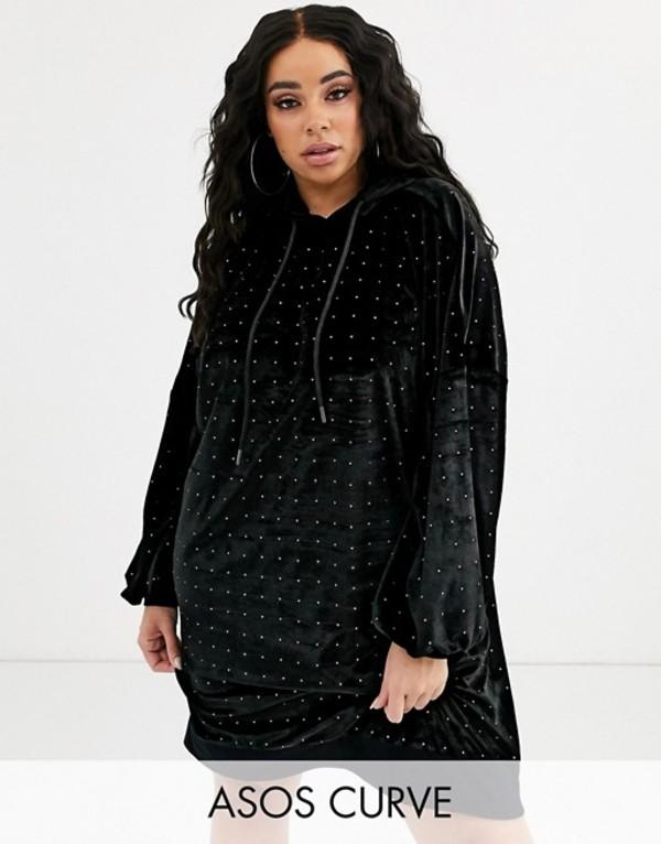 エイソス レディース ワンピース トップス ASOS DESIGN Curve velvet hoodie dress with hotfix embellishment Black