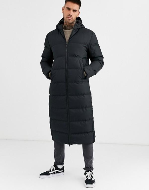 ソウルスター メンズ ジャケット・ブルゾン アウター Soul Star longline puffer jacket in black Black