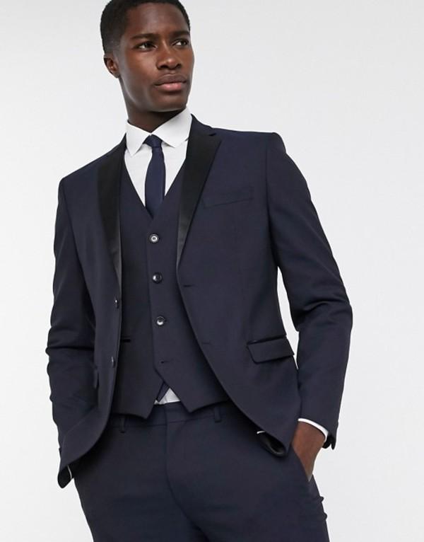 セレクテッドオム メンズ ジャケット・ブルゾン アウター Selected Homme slim fit tuxedo satin lapel suit jacket in navy Dark navy