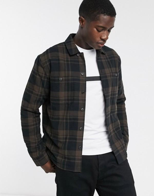 セレクテッドオム メンズ シャツ トップス Selected Homme padded check over shirt in brown Brownie