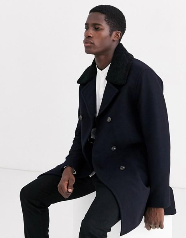 セレクテッドオム メンズ コート アウター Selected Homme removable fleece collar overcoat in navy Sky captain