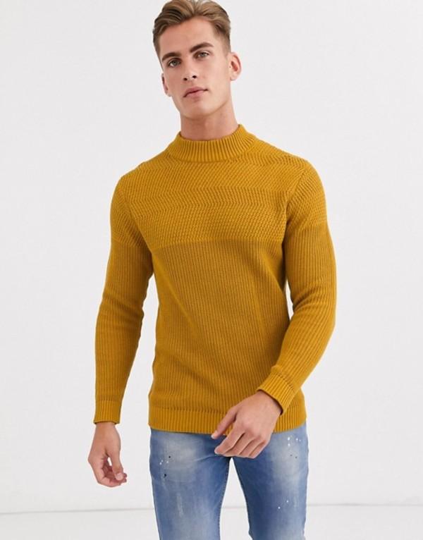 セレクテッドオム メンズ ニット・セーター アウター Selected Homme chunky crew neck knitted sweater in yellow Chai tea