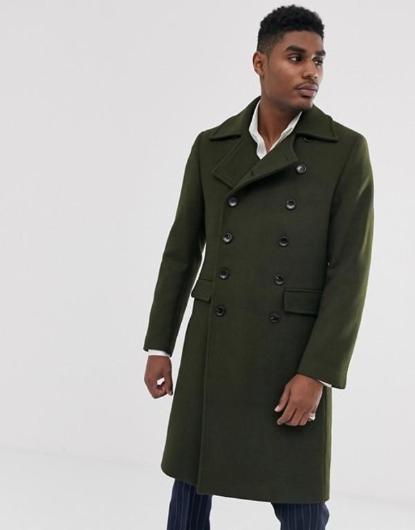 デビルズ アドボケート メンズ コート アウター Devils Advocate premium wool blend oversized collar military jacket Green
