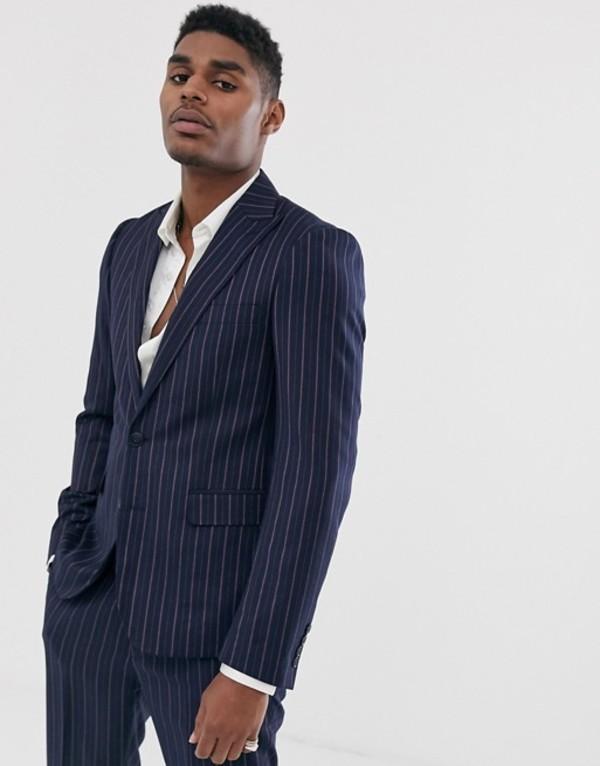 デビルズ アドボケート メンズ ジャケット・ブルゾン アウター Devils Advocate skinny fit navy stripe suit jacket Navy