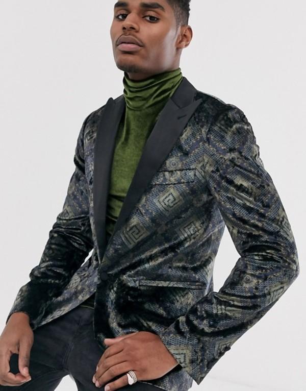 デビルズ アドボケート メンズ ジャケット・ブルゾン アウター Devils Advocate skinny fit vintage velvet satin peak lapel blazer Black