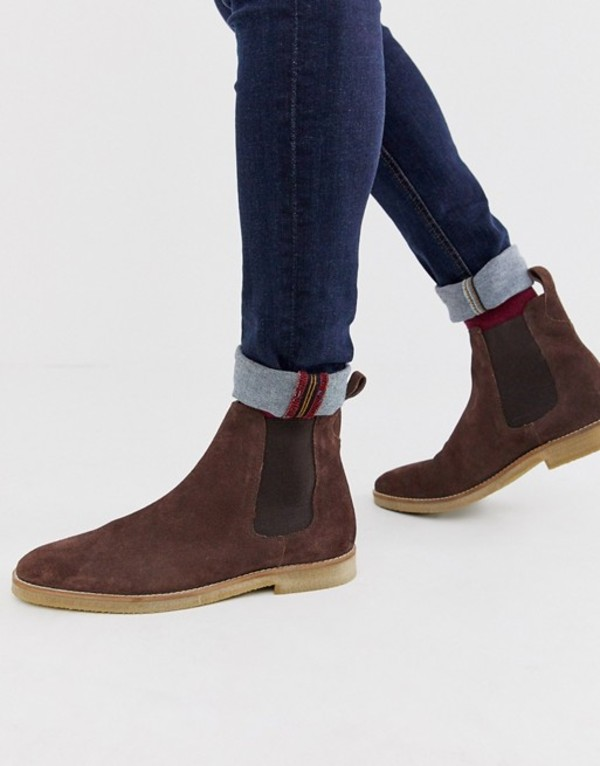 ウォークロンドン メンズ ブーツ・レインブーツ シューズ WALK London hornchurch chelsea boots in brown suede Brown