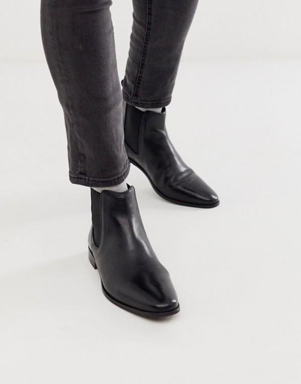 ウォークロンドン メンズ ブーツ・レインブーツ シューズ WALK London alfie chelsea boots in black leather Black