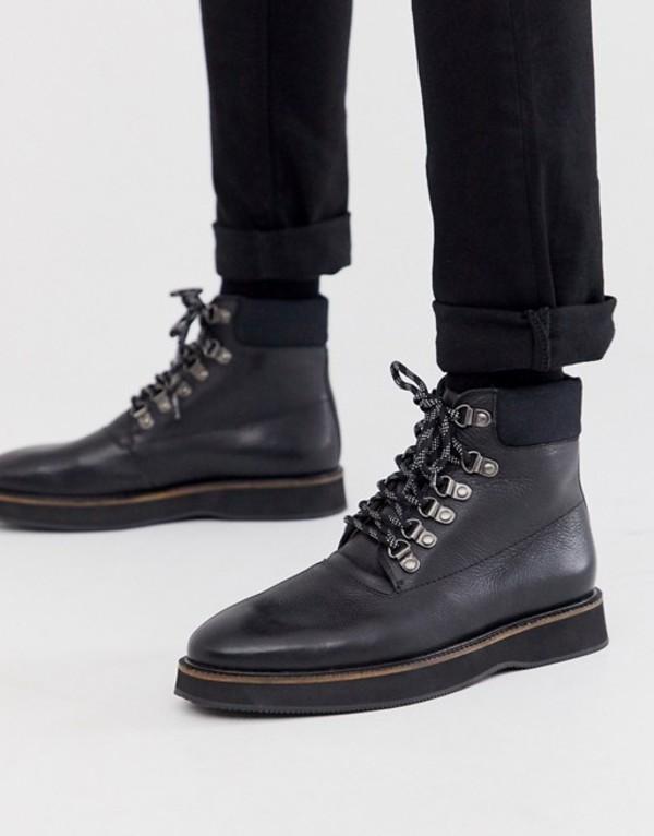 ウォークロンドン メンズ ブーツ・レインブーツ シューズ WALK London board walk hiker boots in black leather Black