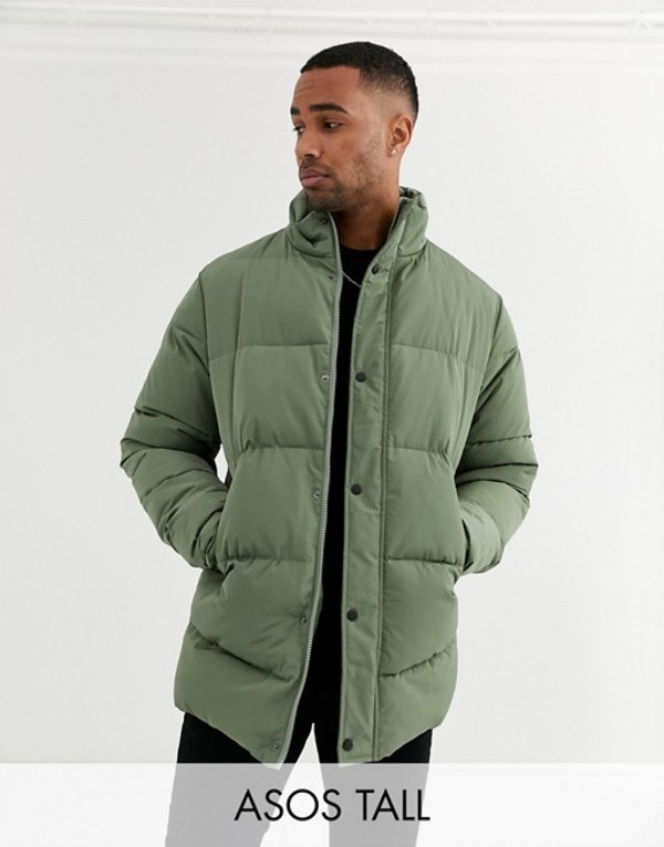 エイソス メンズ ジャケット・ブルゾン アウター ASOS DESIGN Tall sustainable puffer jacket in khaki with funnel neck Khaki