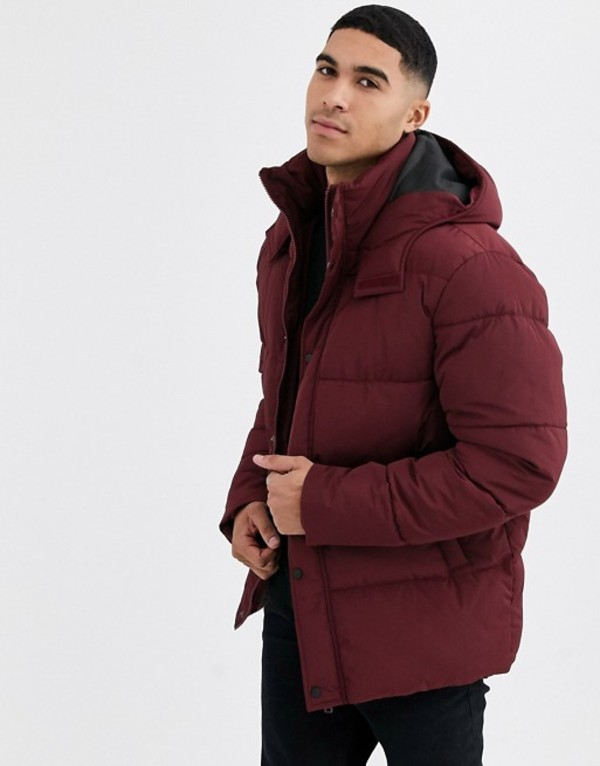 エイソス メンズ ジャケット・ブルゾン アウター ASOS DESIGN sustainable puffer jacket with hood in burgundy Burgundy