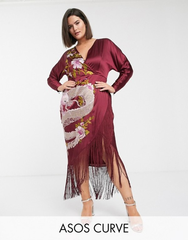 エイソス レディース ワンピース トップス ASOS DESIGN Curve midi kimono dress with dragon embroidery and fringe hem Oxblood