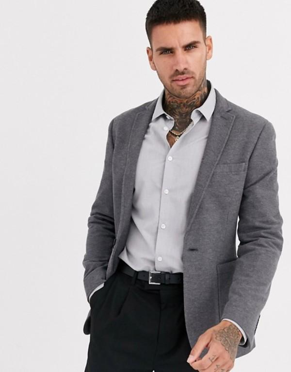エイソス メンズ ジャケット・ブルゾン アウター ASOS DESIGN super skinny pique jersey blazer in charcoal Charcoal