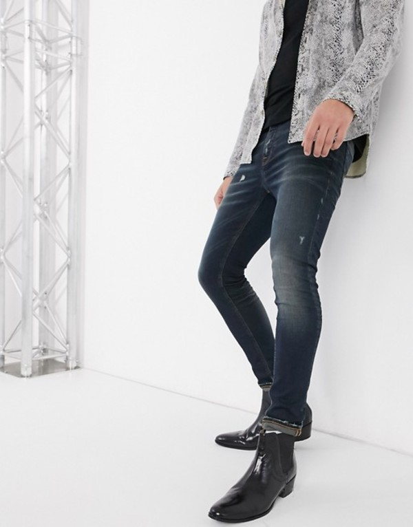エイソス メンズ デニムパンツ ボトムス ASOS DESIGN super skinny jeans 'honestly worn' in vintage dark wash with abrasions Dark wash vintage