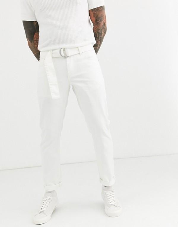 エイソス メンズ デニムパンツ ボトムス ASOS DESIGN stretch slim jeans in white with self belt White